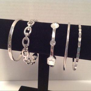 International Concepts - 5 Silver Tone Bracelets